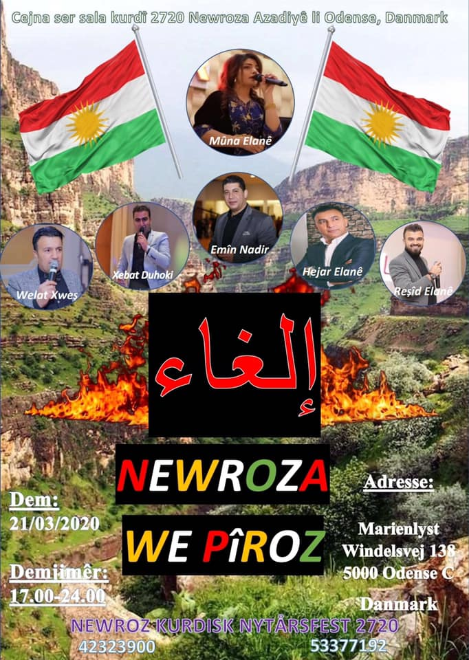 Plakaten til Newroz-festen, der nu er aflyst